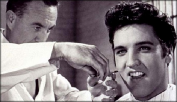 Elvis and his famous hair do