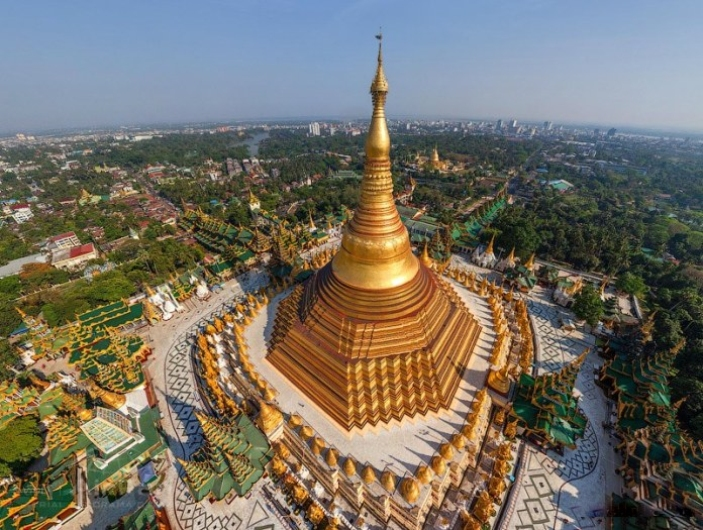 Aerial views of Shwedagon Pagoda in Myanmar