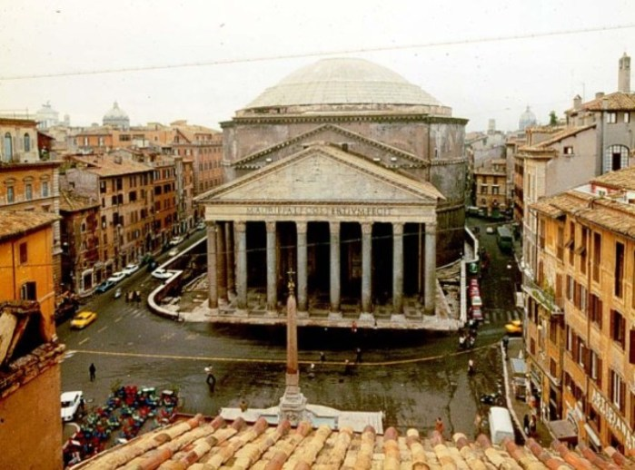 Aerial view of Pantheon in Rome Italy