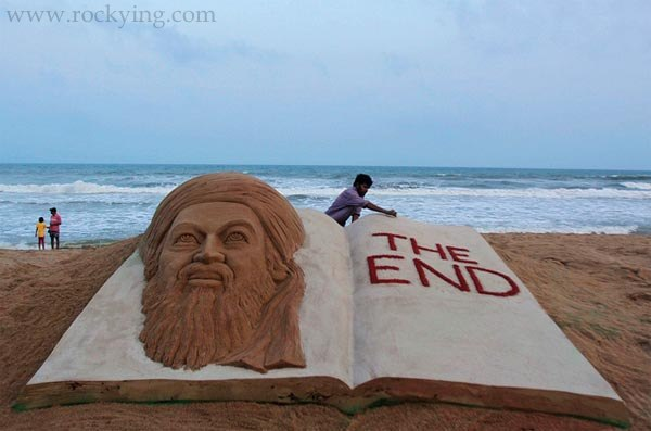 Osama Bin Laden sand Sculpture in Puri Orissa