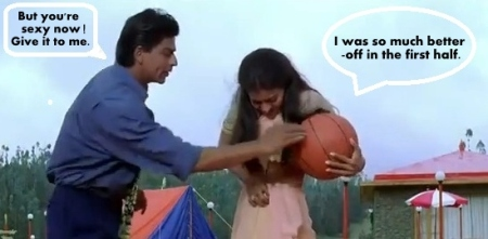Shahrukh Kajol playing Basket Ball
